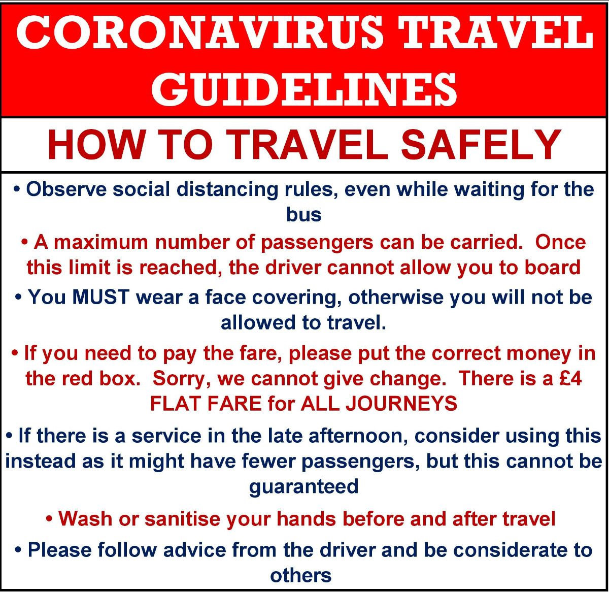 Coronavirus travel guidelines